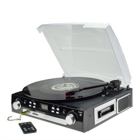 Bluetooth turntable&cassette&Radio Player with USB SD Encoding